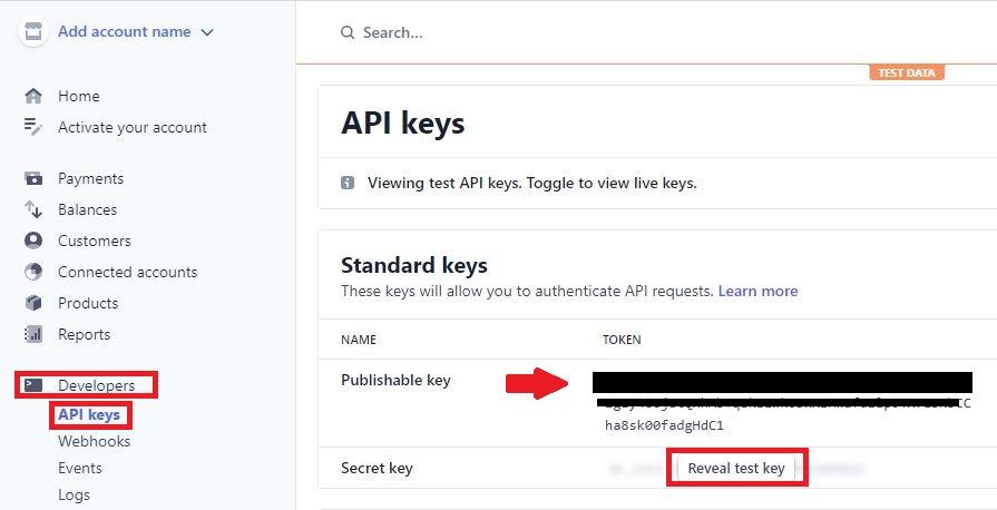 Extraction of Stripe Publishable key and Secret key