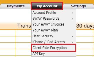 eWay Client side encryption key on MyeWay