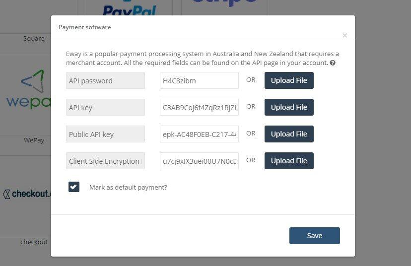 eWay payment integration pop-up
