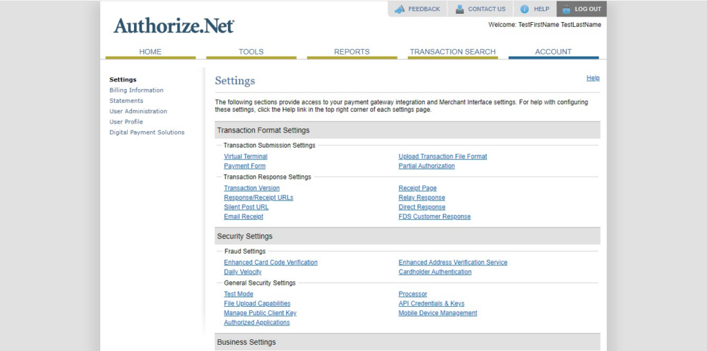 AuthorizeNet account settings page