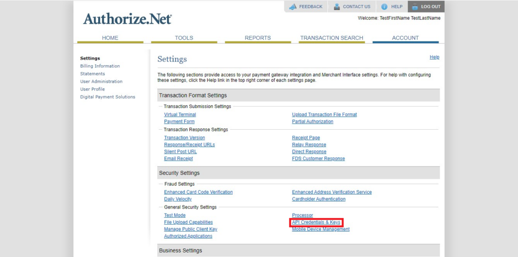 Authorize.Net Navigation of API ID and Transactional key in account Tab