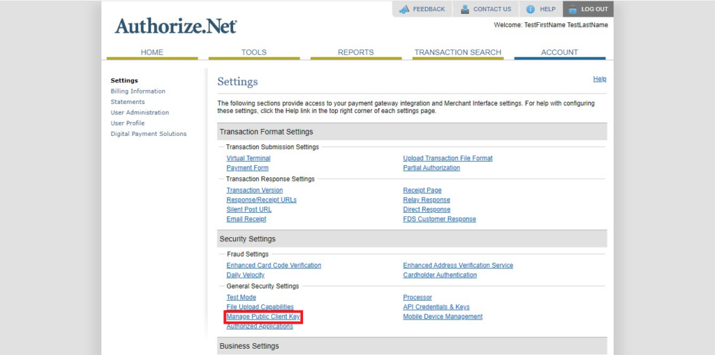 Authorize.Net Navigation of public client key from account tab