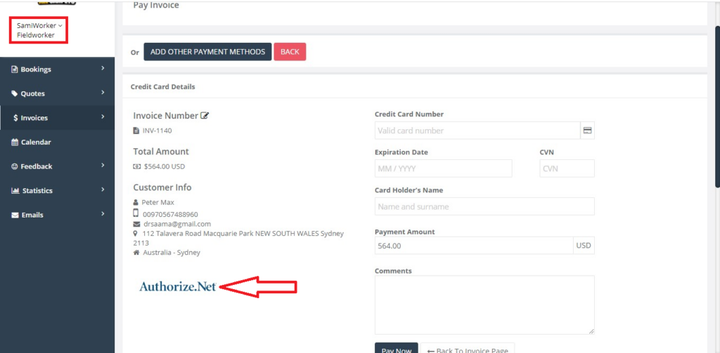An example of what will happen when the admin set up Authorize.Net as a payment softwear from the fieldworker portal