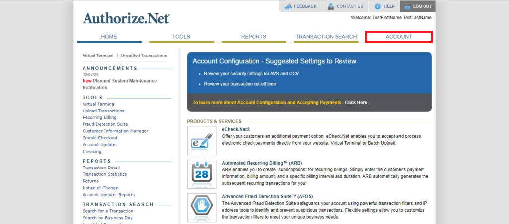 Authorize.Net Navigation of Account Tab (Highlighted) from home page