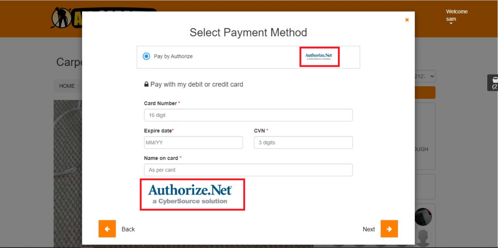 n example of what will happen when the admin set up Authorize.Net as a payment softwear from the customer portal