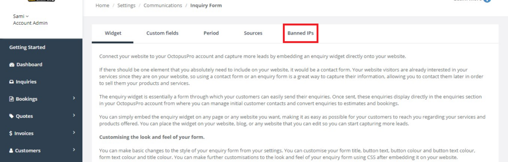 Banned IPs tap navigations from the inquiry form page