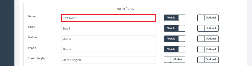 Inquiry Form Inquiry widget fields placeholder example