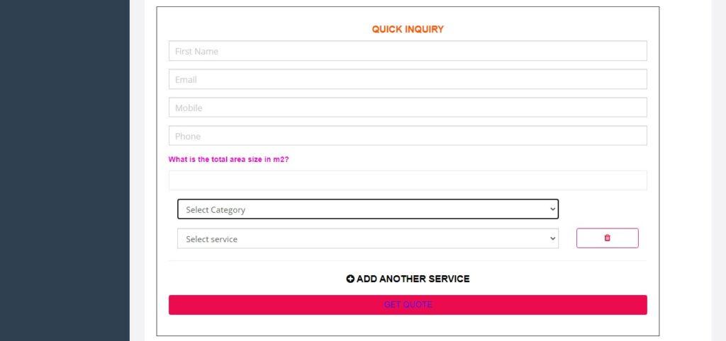 Inquiry Form Inquiry widget show categories example