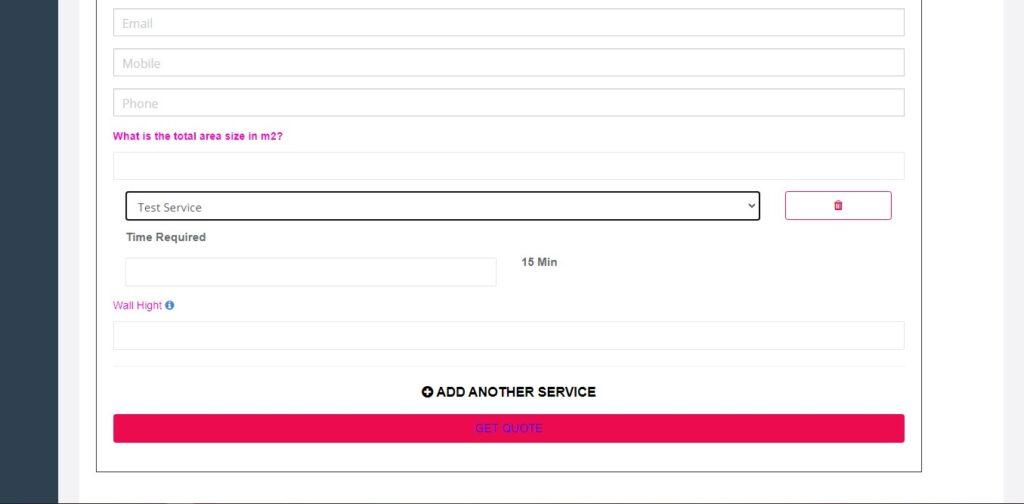 Inquiry Form Inquiry widget show service custom field example
