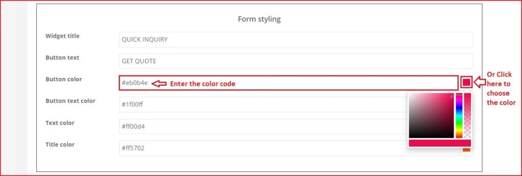 Inquiry Form Inquiry widget styling color selection