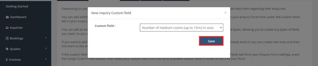 Inquiry Form custom field add New inquiry save Button