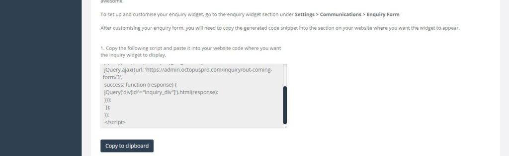 Embedding the inquiry form on your website