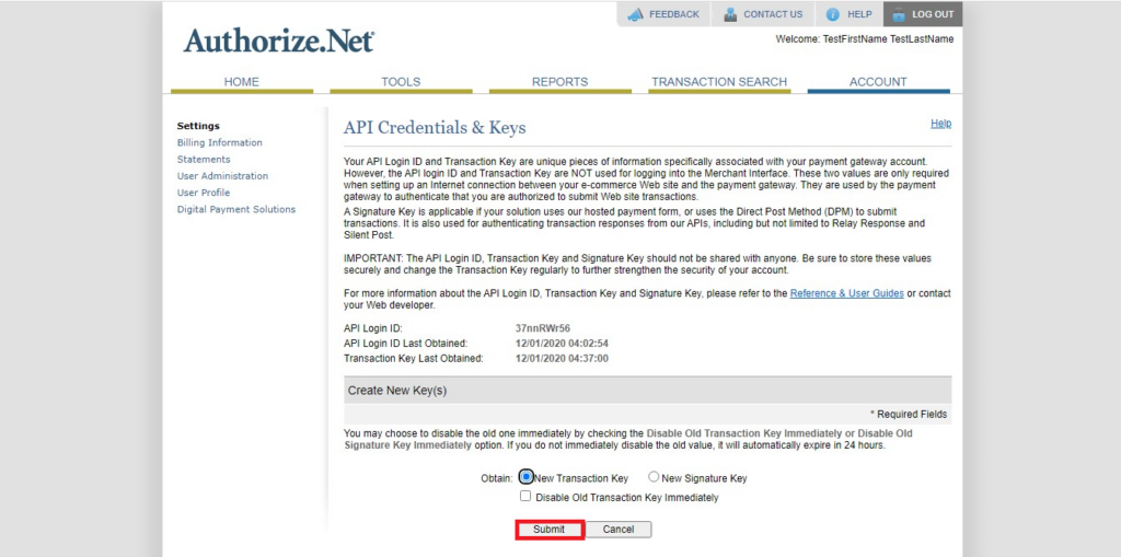 Authorize.Net Navigation of transaction Key submit button (highlighted)