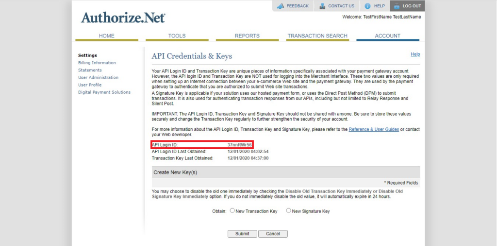 Authorize.Net Navigation of API Login ID in API Credential & Keys in API credentials and keys