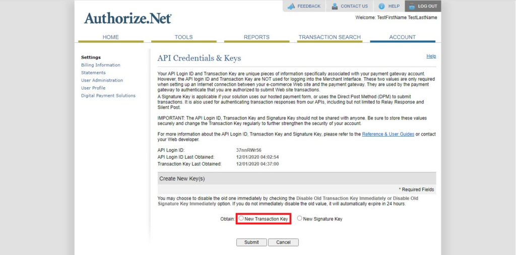 Authorize.Net Navigation of transaction Key in API Credential & Keys in API credentials and keys