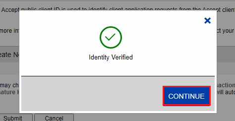 Authorize.Net Identity Verified confirmed for asking keys (continue button highlighted)