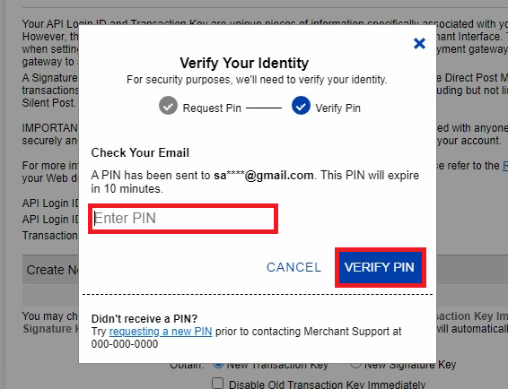 Authorize.Net Identity Verified pop-up (Highlighted) and (Verify PIN highlighted)