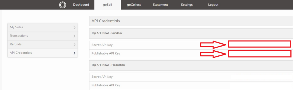 Tab account API credentials page, the location of tap API keys