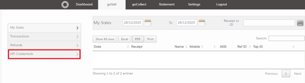 Tab account goSell page, API credentials tab location, that tab have the API keys