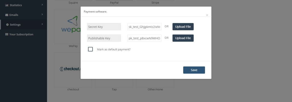 Tap payment software popup in octopuspro which appears when selecting tap for payment software