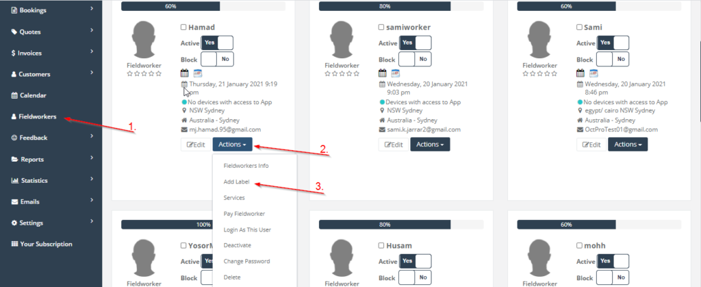 add a new label in fieldworkers page navigation