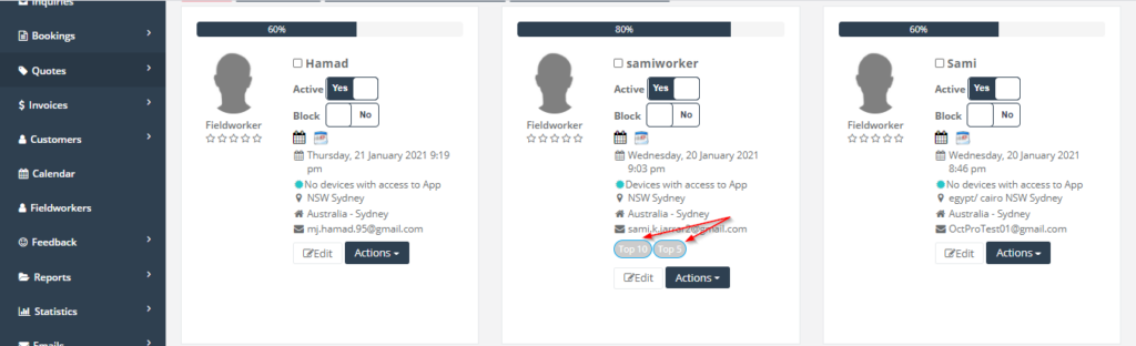 add a new label to a fieldworker, an example how it shows in the fieldworker page