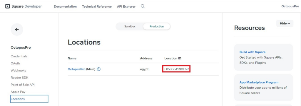 Square location ID in locations page in the production tab