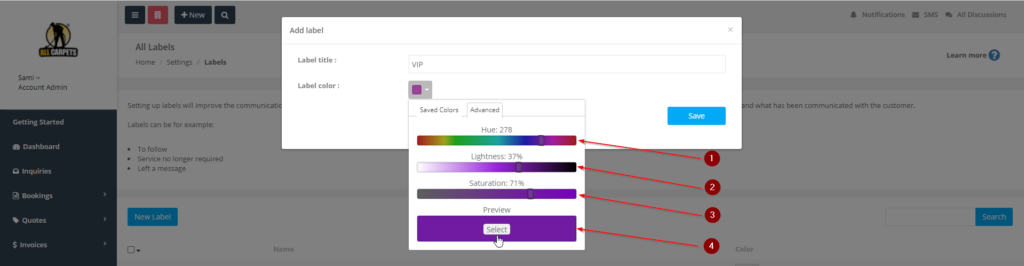 add a new label, select a color from the advanced color selection
