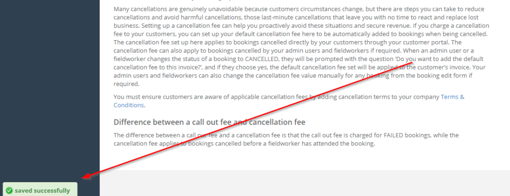 save successfully message that appears after setting your cancellation fees in the setting page