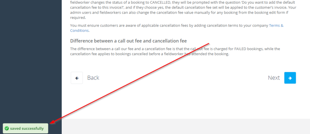 saved successfully message that appears after inserting the cancelation fee value