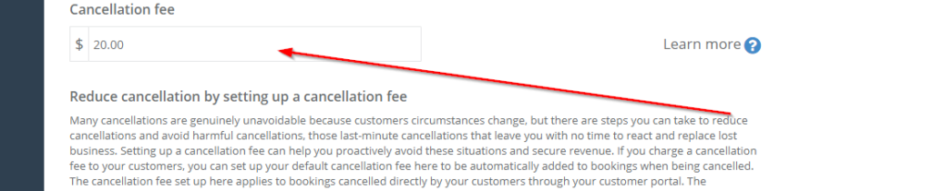 set the cancellation fee in the relevant field
