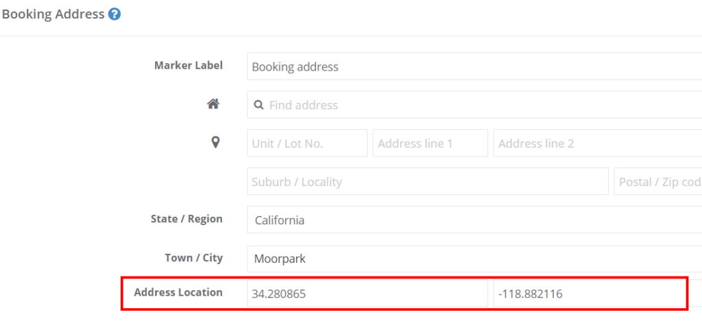 Address coordination feature which appears in create a booking as an admin when the mobile location is selected