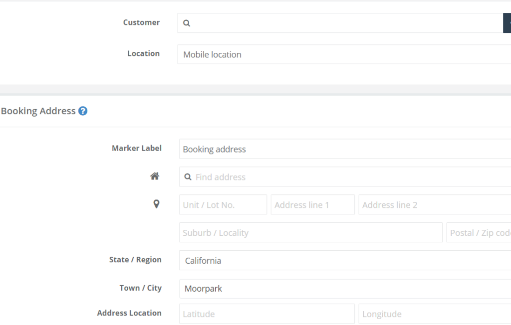 Booking address input fields in create a new booking when the mobile location is activated