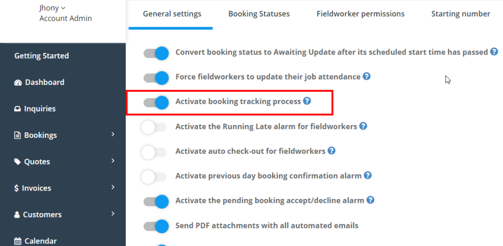 Activate booking tracking process from  settings > > general settings > booking settings > general booking settings